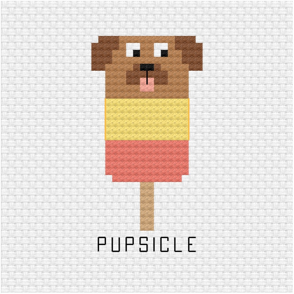 Pupsicle cross stitch pdf pattern