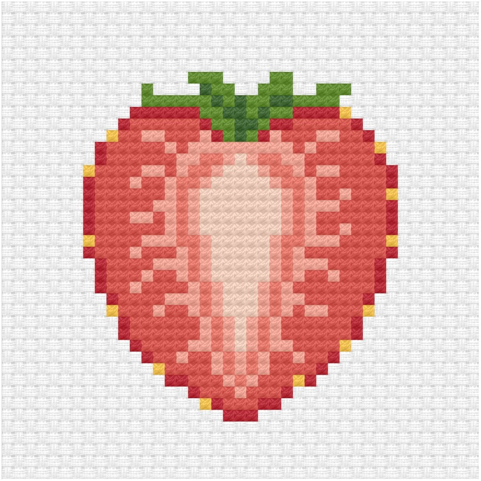 Sliced strawberry cross stitch pdf pattern