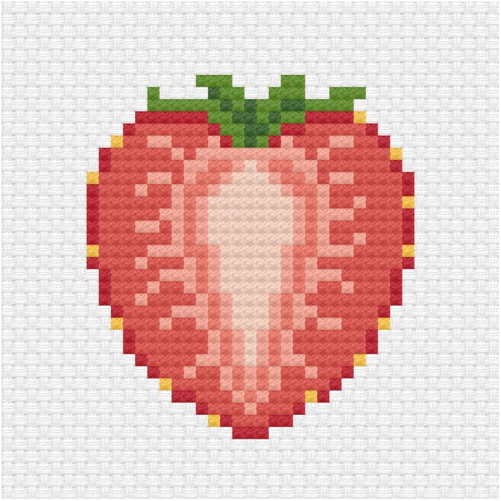 Sliced strawberry cross stitch pdf pattern