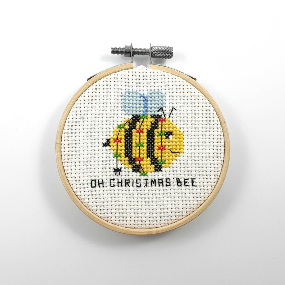 Oh Christmas bee cross stitch pdf pattern