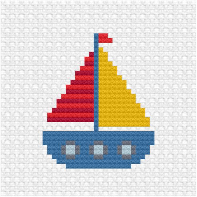 Sailboat cross stitch pdf pattern