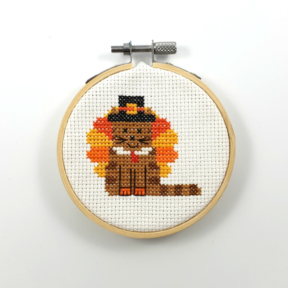 Thanksgiving cat cross stitch pdf pattern