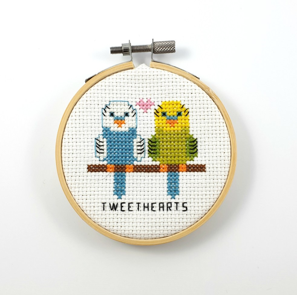 Tweethearts cross stitch pdf pattern