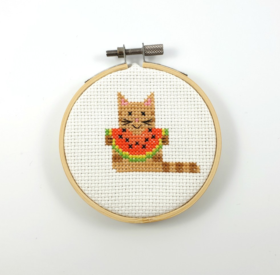 Summer cat with water melon cross stitch pdf pattern