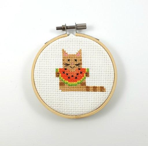 Summer cat with water melon cross stitch pdf pattern