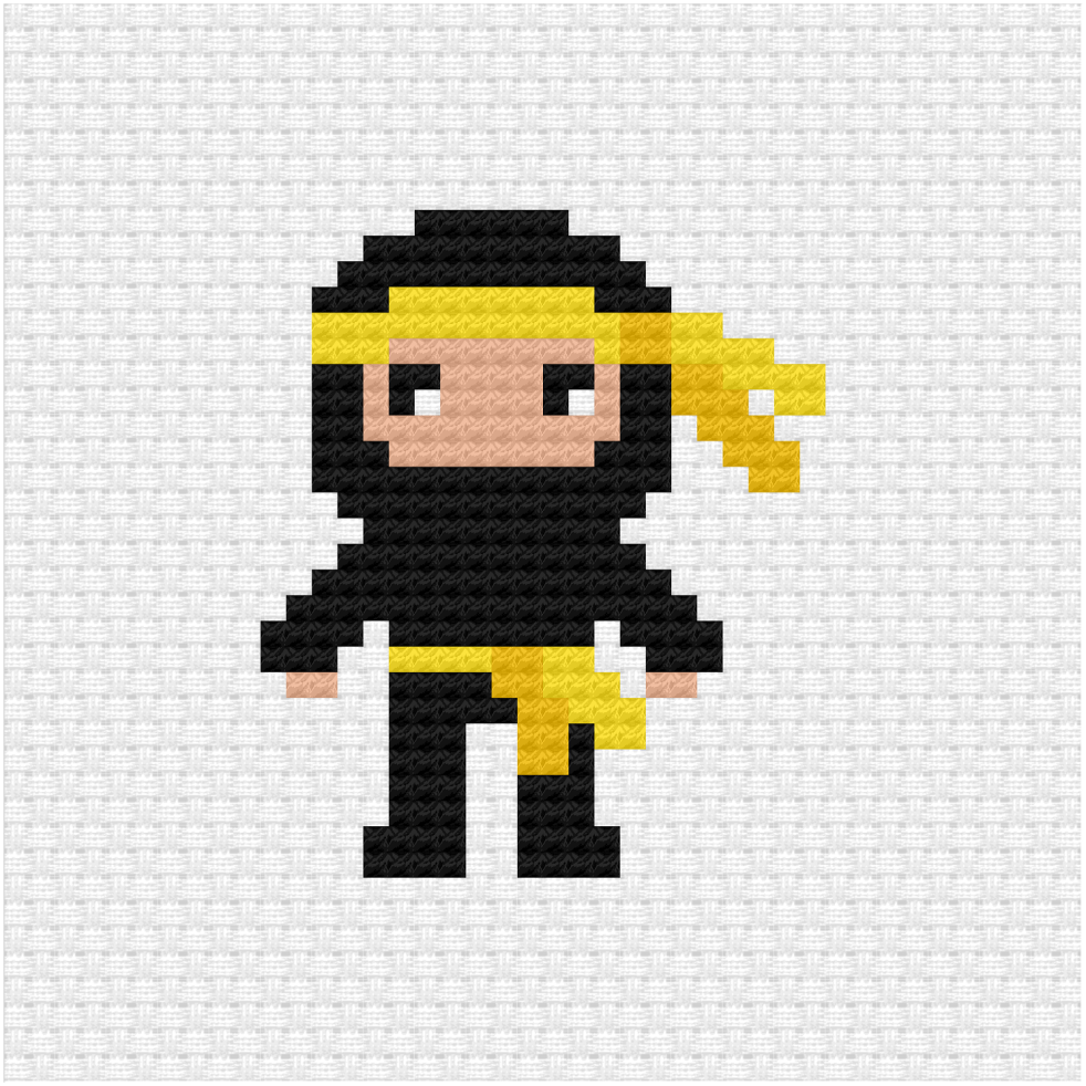 Ninja cross stitch pdf pattern
