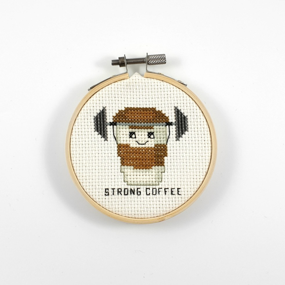 Strong coffee cross stitch pdf pattern