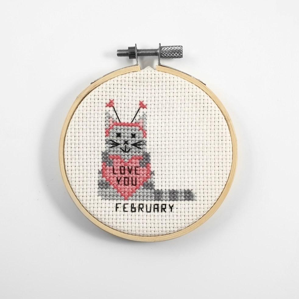 February cross stitch pdf pattern