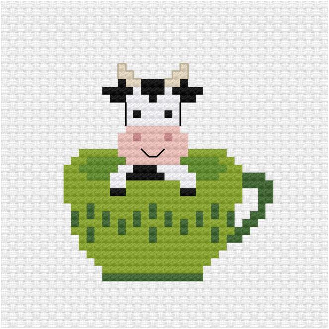 Tea cup cross stitch pdf pattern