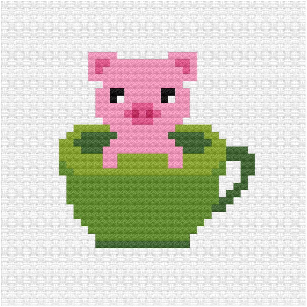 Pig in a tea cup cross stitch pattern