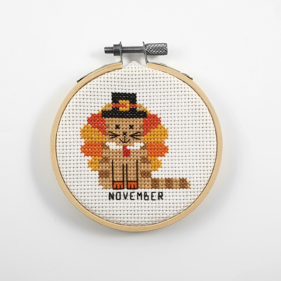 November cat cross stitch pdf pattern