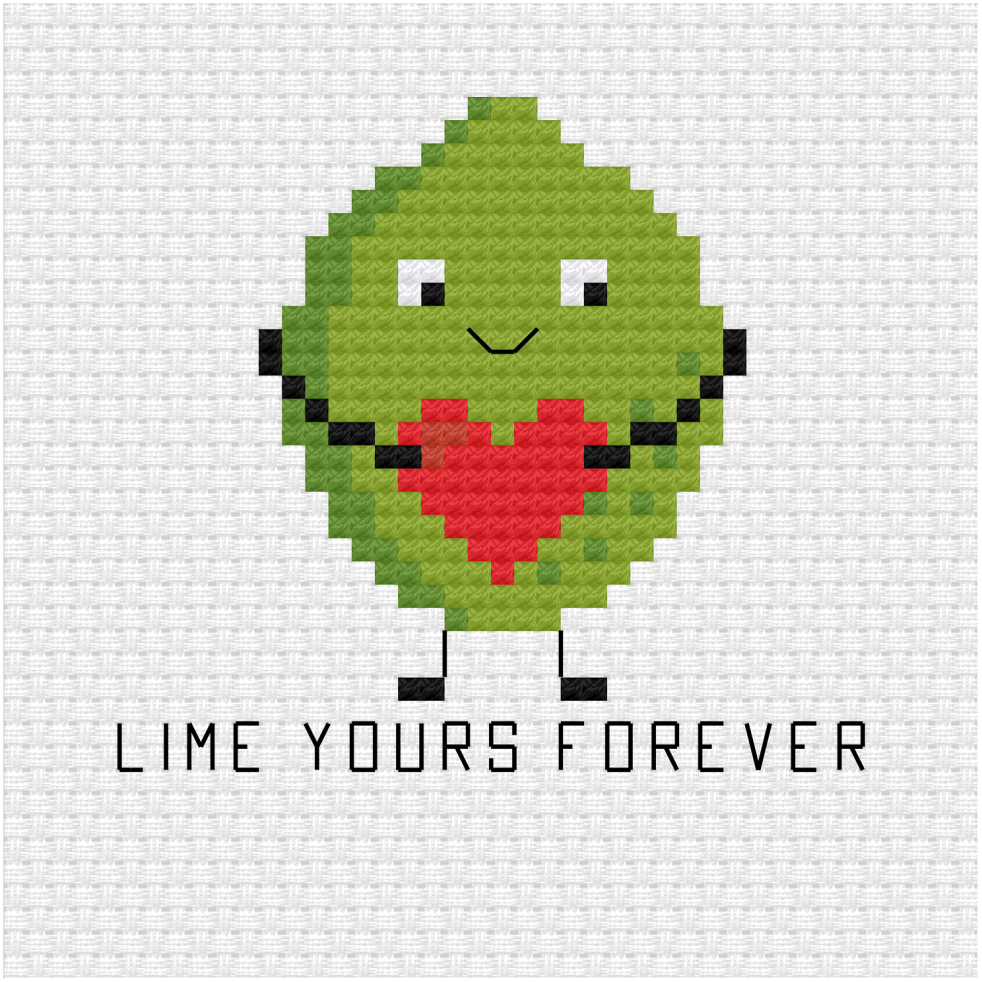 Lime yours forever cross stitch pdf pattern