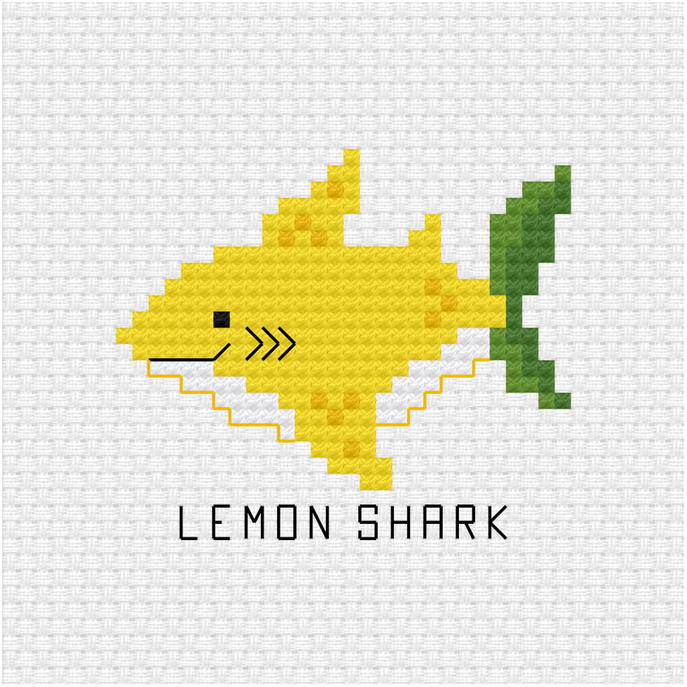 Lemon shark cross stitch pdf pattern
