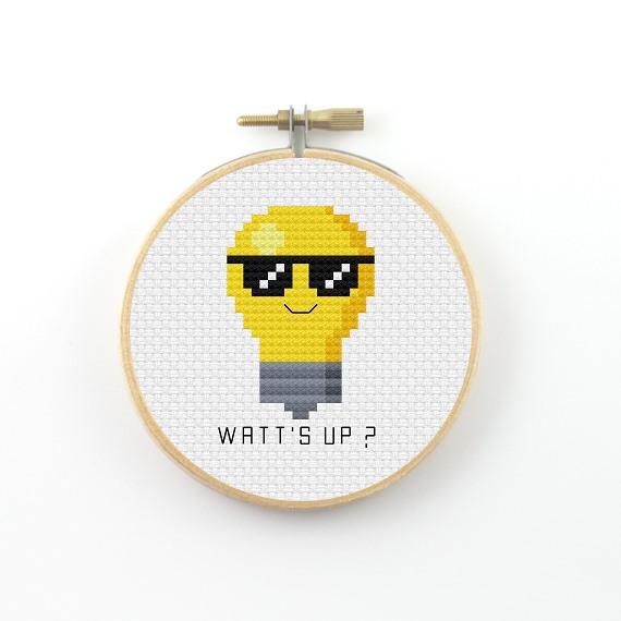 Watt's up? cross stitch pdf pattern