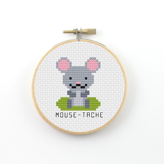 Mouse-tache cross stitch pdf pattern