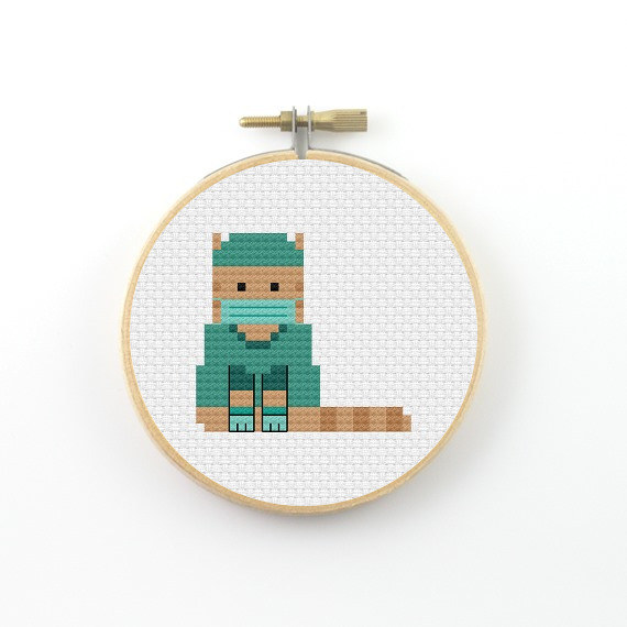 Nurse cat cross stitch pdf pattern