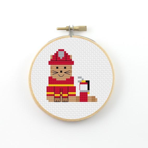 Fire fighter cat cross stitch pdf pattern