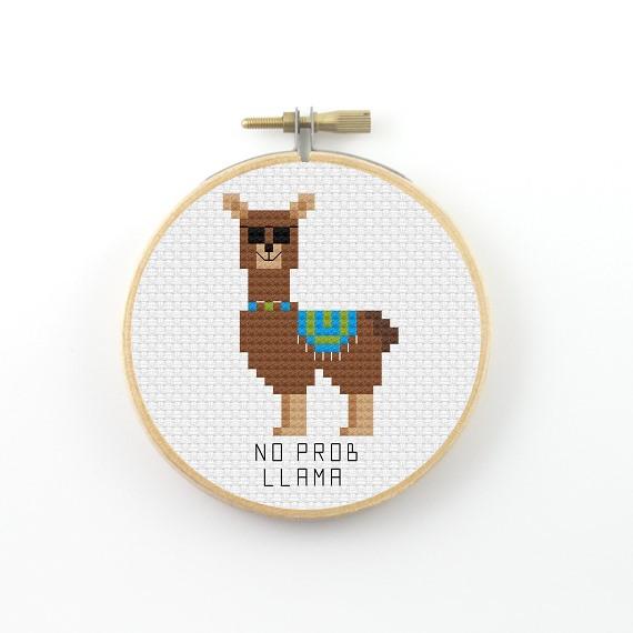 No prob llama cross stitch pdf pattern