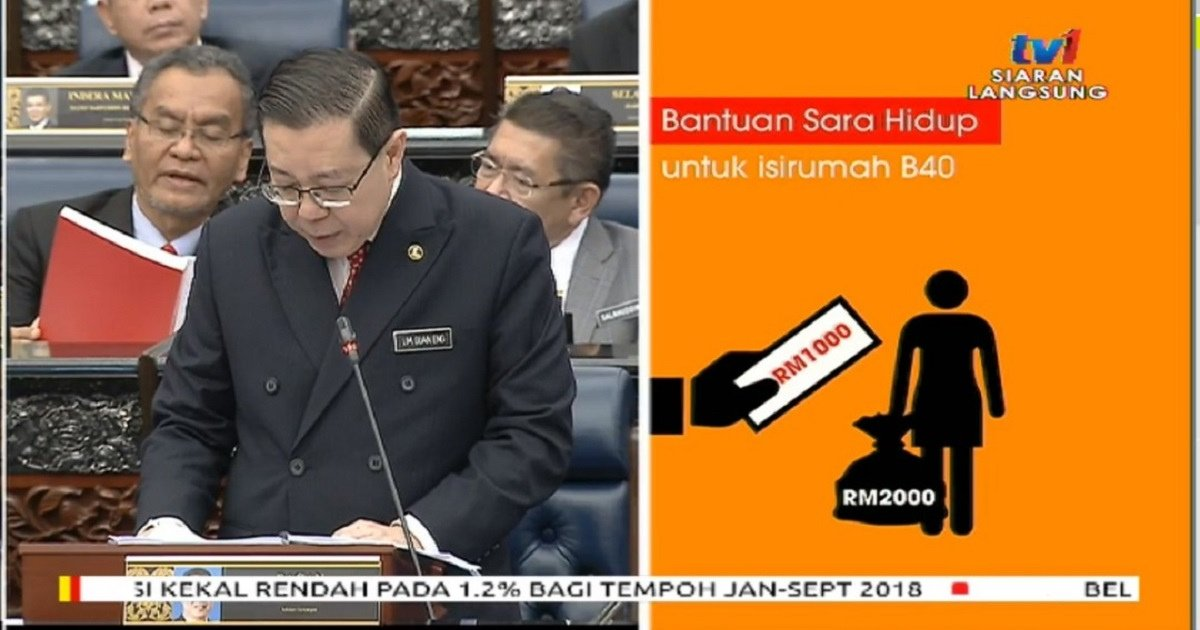 Budget 2019 Br1m Renamed As Bantuan Sara Hidup Offers Cash Assistance For B40 Households