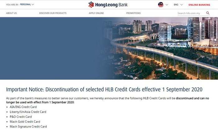 hlb credit cards discontinued