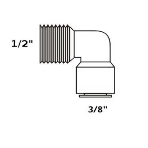"Tiger Straight Adaptor 3/8"" tube x 1/2"" NPT"