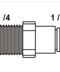 "Tiger Straight Adaptor 1/4"" tube x 1/4"" NPT"