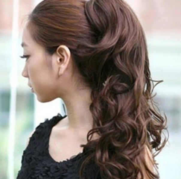 Curly wavy ponytail