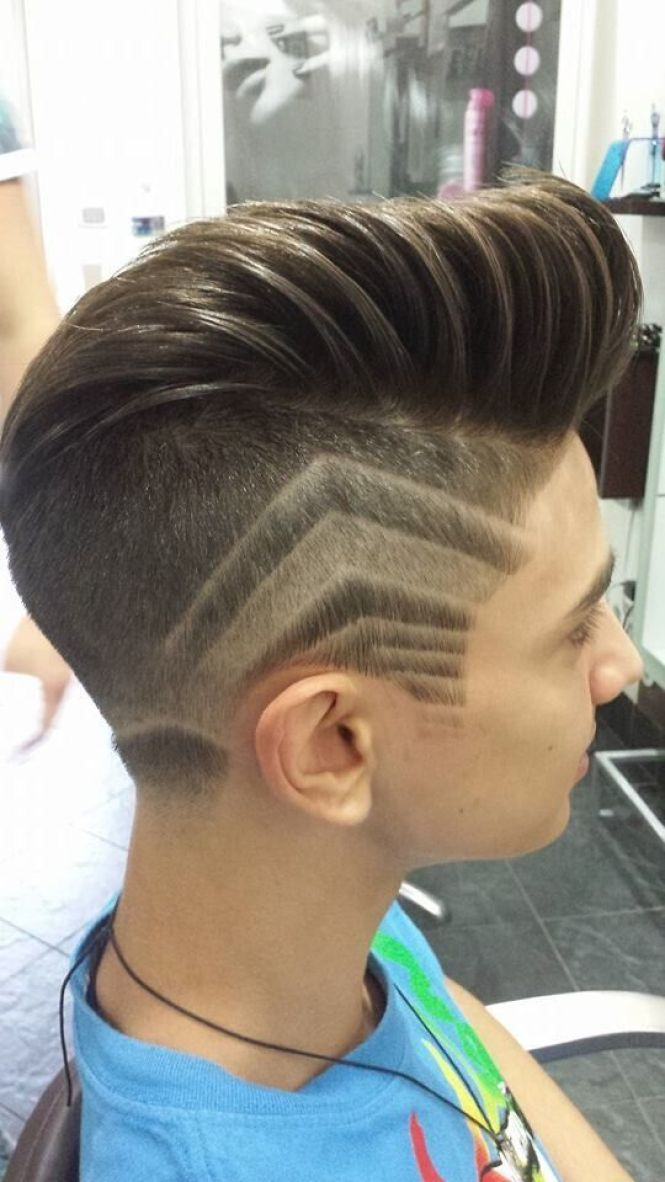 Dry Slick with Design Hairstyle For Men