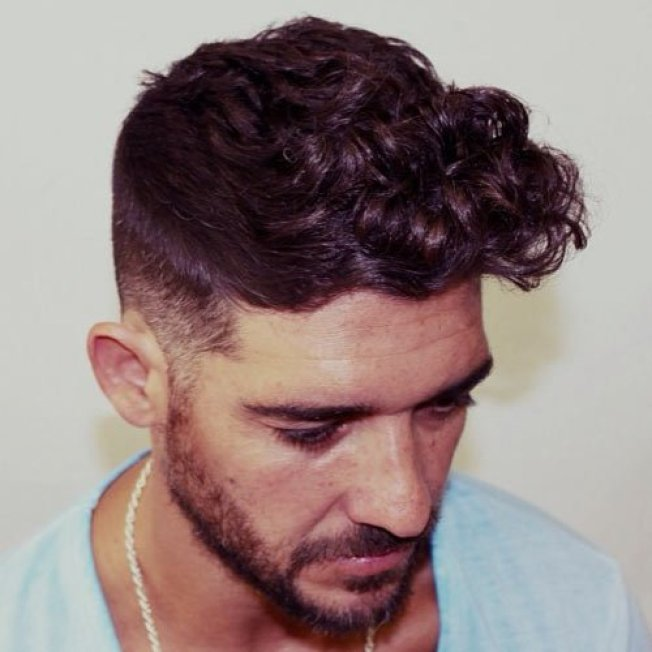 High Fade Curly Hairstyle For Men