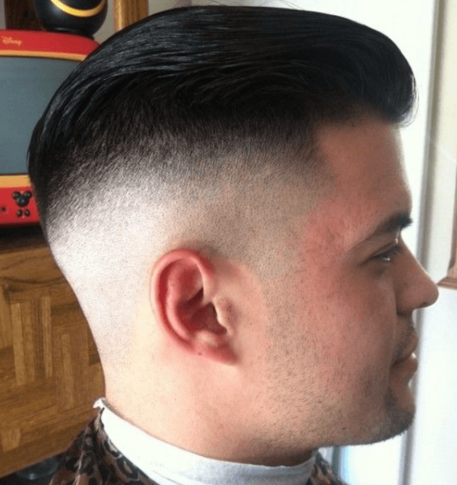 Shaved Fade with Slicked Hair