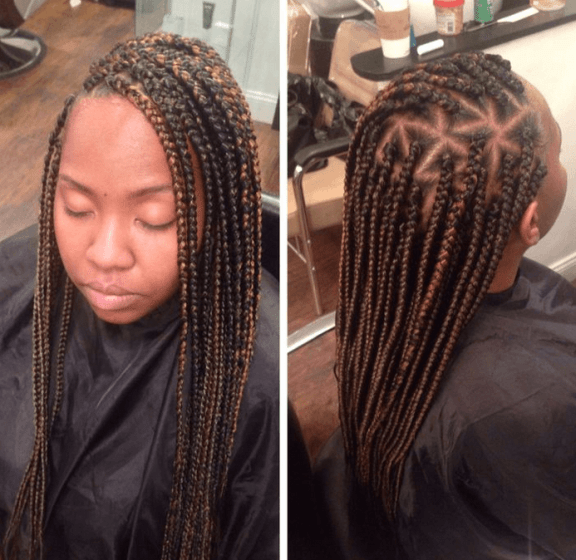 Triangle Parted Box Braids