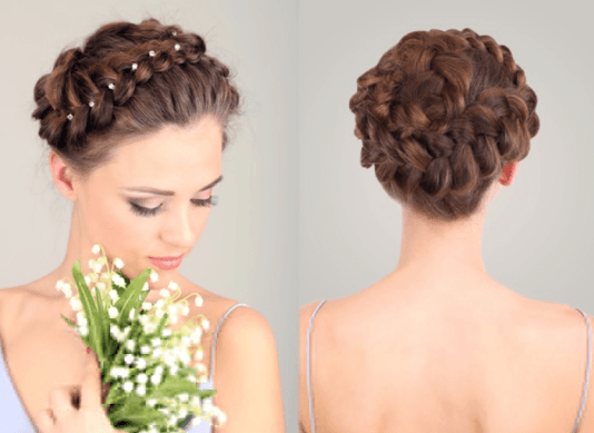 Braided Bun Hairstyle for Round Faces