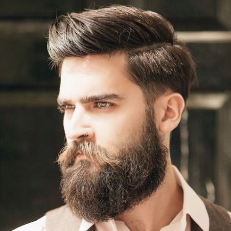 Side Part Comb Over with Beard