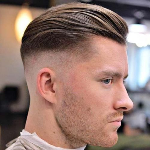High skin Fade Textured Slick Back and Stubble