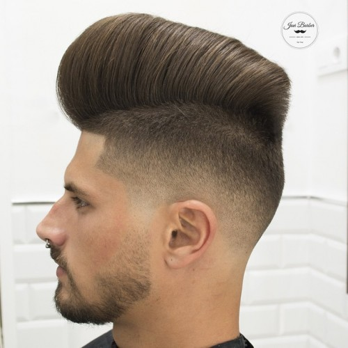 Tall Combover Skin Fade with Pomp