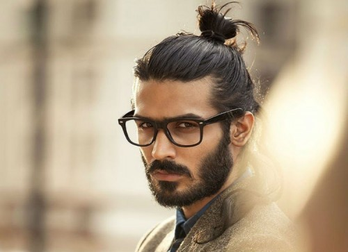 Top Knot and Beard with textured hair Hipster Haircut