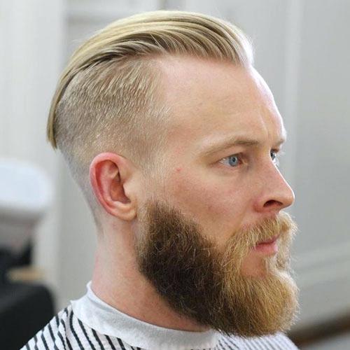 undercut skin fade slick back beard