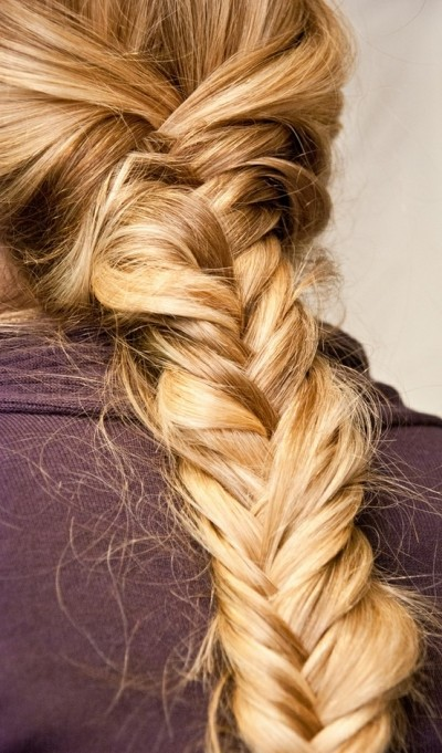 Beautiful messy fishtail braid ponytail