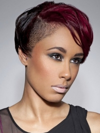 Short Black and Red Pixie