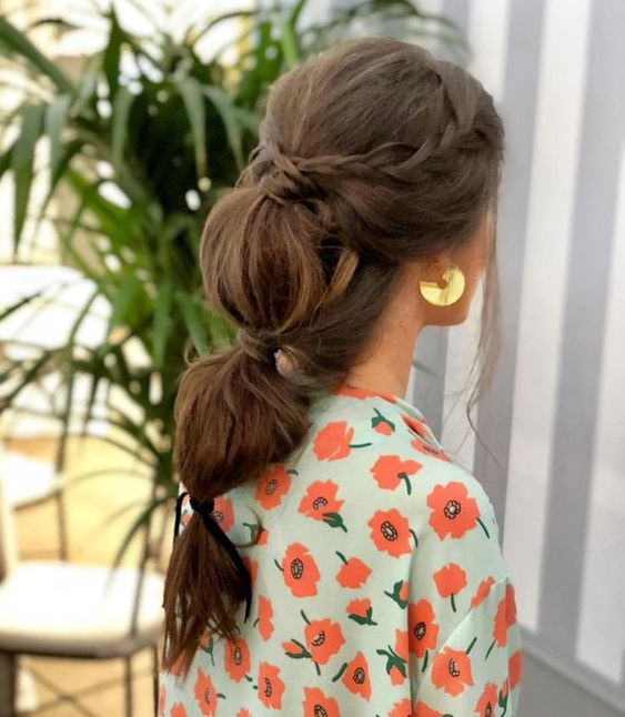 Bubble Ponytail with Braiding Hair