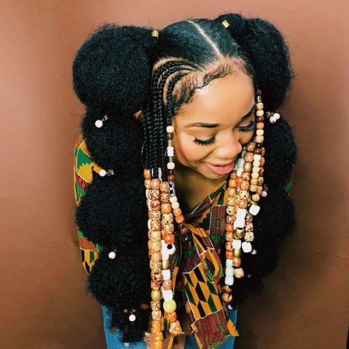 Textured Afro Puff Bubble Ponytails