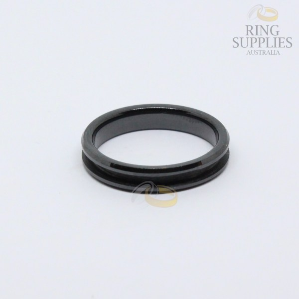 4mm black ceramic ring blanks with 2mm channel groove