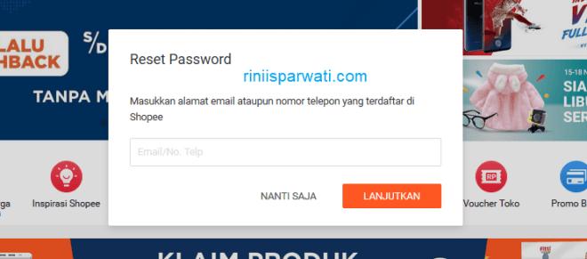 cara mengatasi lupa email dan password shopee