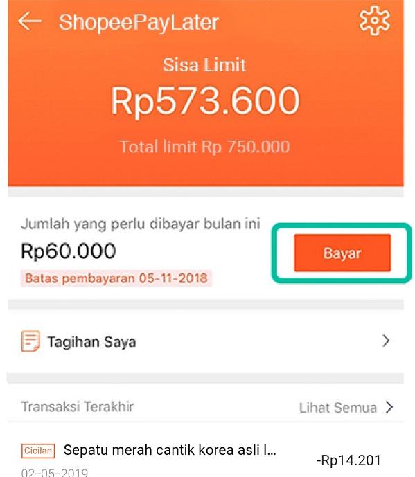 cara membayar tagihan shopee paylater