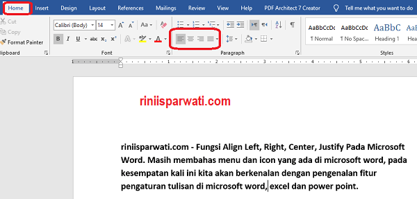 Fungsi Align Left, Right, Center, Justify Pada Microsoft Word