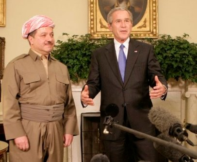 President George W. Bush talks to reporters as he welcomes Massoud Barzani, the President of the Kurdistan regional government of Iraq, to the Oval Office at the White House, Tuesday, Oct. 25, 2005. White House photo by Eric Draper
