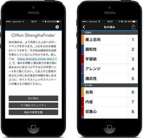 ストレングスファインダーのアプリ