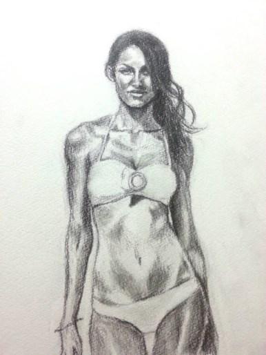 デッサン 水着の女性 /鉛筆