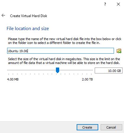 Membuat komputer guest di VirtualBox: kapasitas hard disk