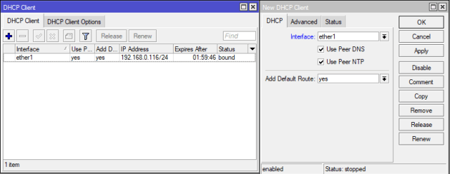 Konfigurasi DHCP Client MikroTik